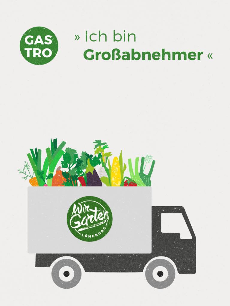 Für Großabnehmer können wir eine individuelle Anbauplanung machen. Das heißt die Gemüsemenge und Gemüseauswahl können für den Jahresverlauf indiviudell bestimmt werden. Danach richtet sich der Preis.